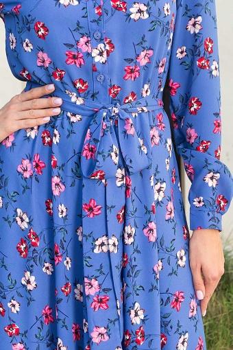 платье синего цвета с ромашками. Платье Изольда-1 д/р. Цвет: джинс-цветочки недорого