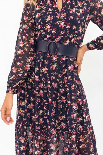 . Платье Мариэтта д/р. Цвет: синий-букет разноцветн недорого