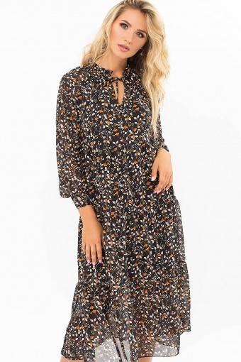 . Платье Мариэтта д/р. Цвет: черный-цветы-ягоды цена