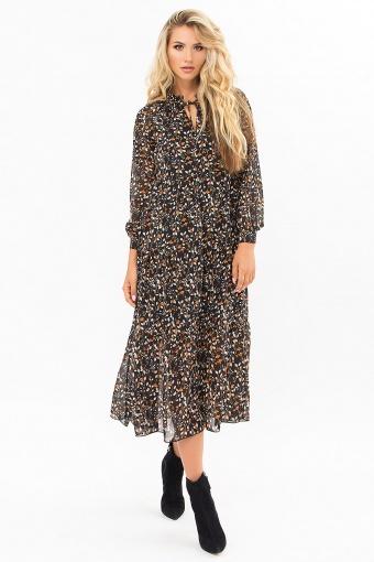 . Платье Мариэтта д/р. Цвет: черный-цветы-ягоды в интернет-магазине