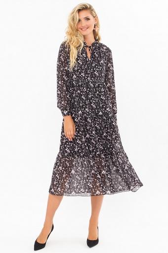 . Платье Мариэтта д/р. Цвет: черный-цветы веточки цена