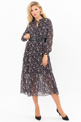 . Платье Мариэтта д/р. Цвет: черный-цветы веточки в интернет-магазине
