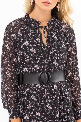 . Платье Мариэтта д/р. Цвет: черный-цветы веточки недорого