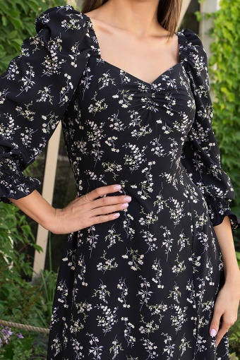 . Платье Пала д/р. Цвет: черный-полевые цветы недорого