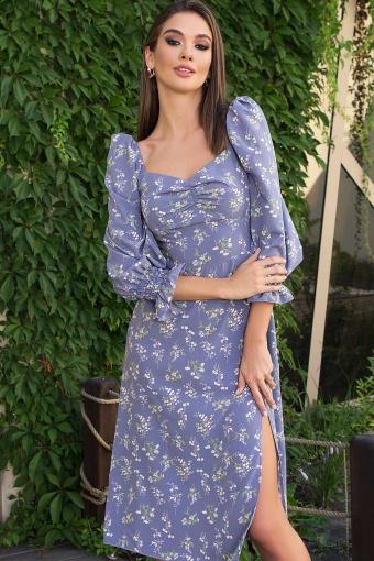 . Платье Пала д/р. Цвет: джинс-полевые цветы цена