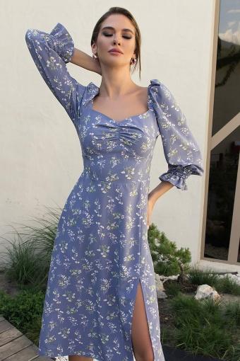 . Платье Пала д/р. Цвет: джинс-полевые цветы недорого