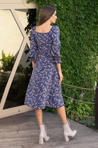 . Платье Пала д/р. Цвет: т.джинс-коралл цветок цена