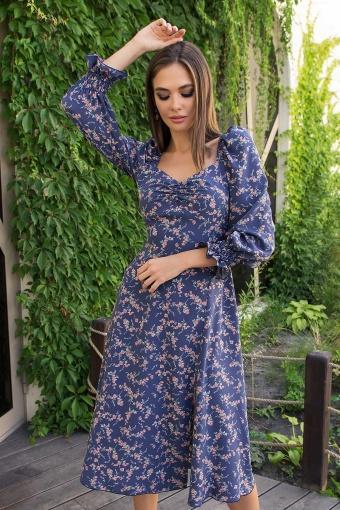 . Платье Пала д/р. Цвет: т.джинс-коралл цветок в интернет-магазине