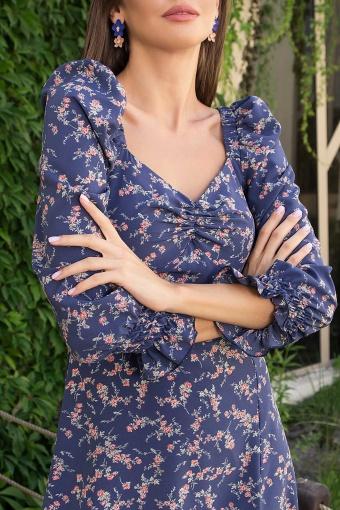 . Платье Пала д/р. Цвет: т.джинс-коралл цветок в Украине