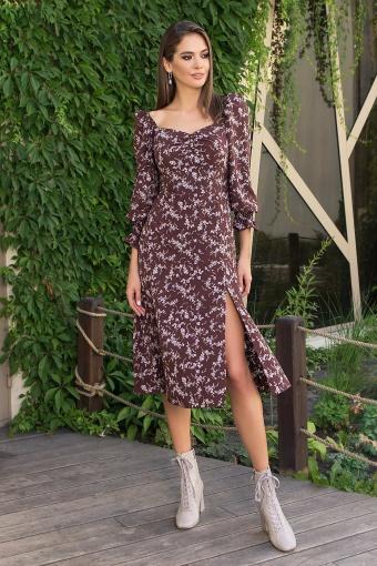 . Платье Пала д/р. Цвет: шоколад-сирен.цветок цена