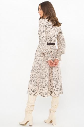 синее платье с поясом. Платье Кария д/р. Цвет: молоко-разноцв.пятна в Украине