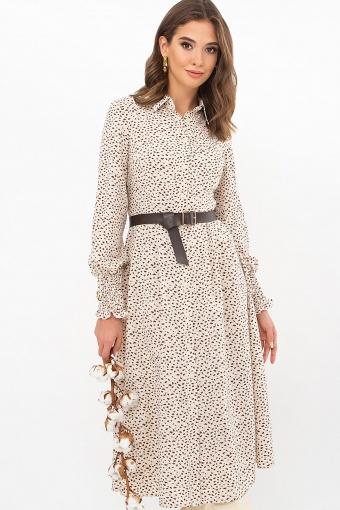 синее платье с поясом. Платье Кария д/р. Цвет: молоко-разноцв.пятна купить