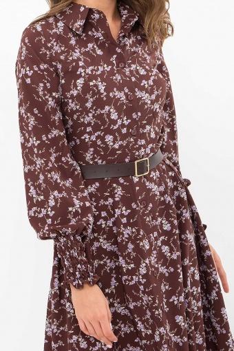 синее платье с поясом. Платье Кария д/р. Цвет: шоколад-сирен.цветок в Украине