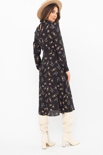 . Платье Санторини д/р. Цвет: черный-м.букет в интернет-магазине