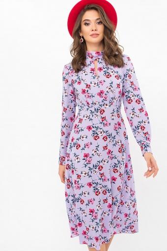 . Платье Санторини д/р. Цвет: лаванда-цветочки купить