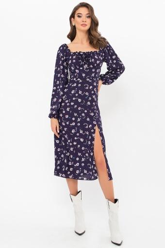 лавандовое платье с цветочным принтом. Платье Валия д/р. Цвет: синий-ромашки цена