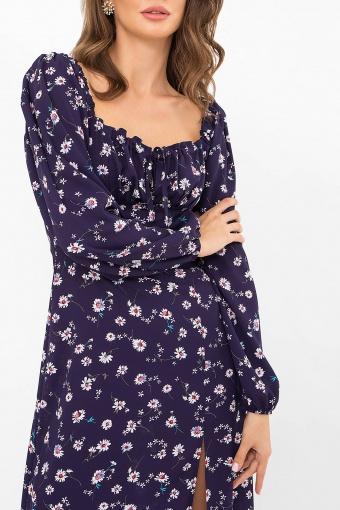 лавандовое платье с цветочным принтом. Платье Валия д/р. Цвет: синий-ромашки недорого