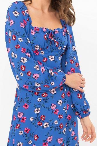 лавандовое платье с цветочным принтом. Платье Валия д/р. Цвет: джинс-цветочки в Украине