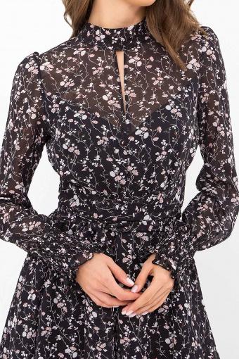 шифоновое платье мини. Платье Рина д/р. Цвет: черный-цветы веточки недорого