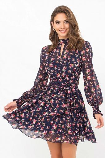 шифоновое платье мини. Платье Рина д/р. Цвет: синий-букет разноцветн цена