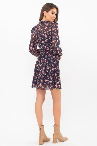 шифоновое платье мини. Платье Рина д/р. Цвет: синий-букет разноцветн в интернет-магазине