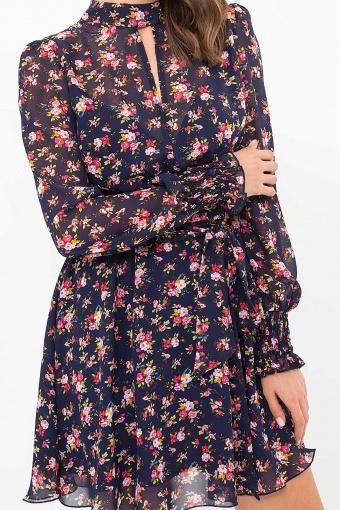 шифоновое платье мини. Платье Рина д/р. Цвет: синий-букет разноцветн в Украине