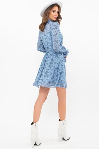 шифоновое платье мини. Платье Рина д/р. Цвет: голубой-цветы веточки в интернет-магазине