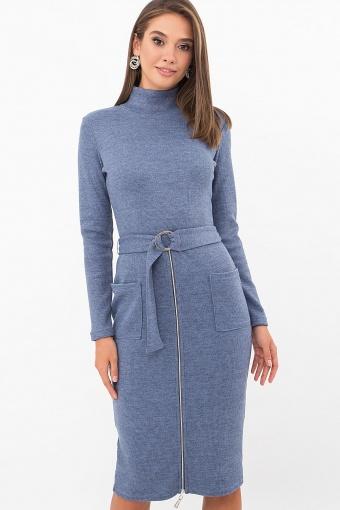 теплое платье-футляр. Платье Виталина 1 д/р. Цвет: джинс цена