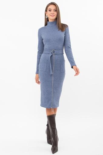 теплое платье-футляр. Платье Виталина 1 д/р. Цвет: джинс купить