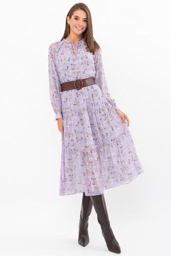 . Платье Мариэтта д/р. Цвет: лаванда-белые цветы цена