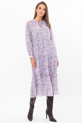 . Платье Мариэтта д/р. Цвет: лаванда-белые цветы в интернет-магазине