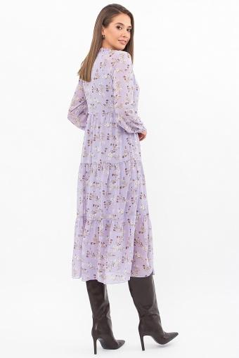 . Платье Мариэтта д/р. Цвет: лаванда-белые цветы в Украине