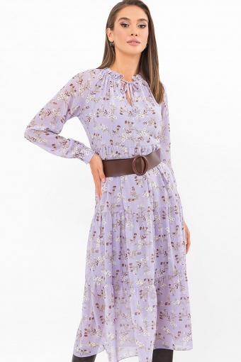 . Платье Мариэтта д/р. Цвет: лаванда-белые цветы купить