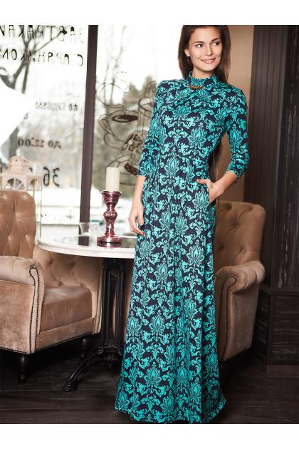 Женское платье в пол с черным ажурным узором. платье Шарлота д/р. Цвет: мята-узор
