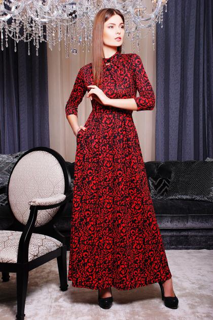 Женское платье в пол с черным ажурным узором. платье Шарлота д/р. Цвет: коралл-черный узор