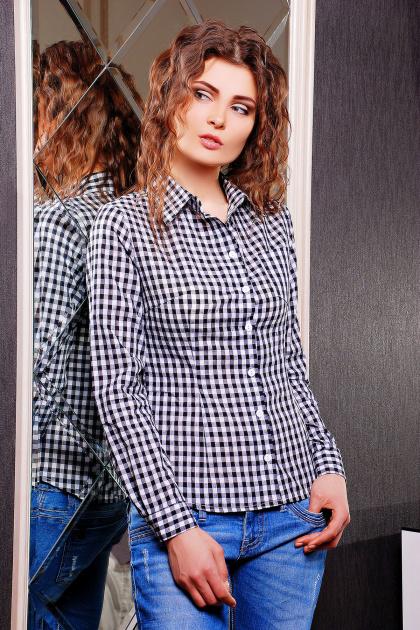 Модная женская блузка цвета электрик в клетку. блуза Шериф д/р. Цвет: черный-клетка