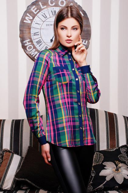 хлопковая рубашка в клетку. блуза Шотландка д/р. Цвет: зеленый-т.синяя отделка