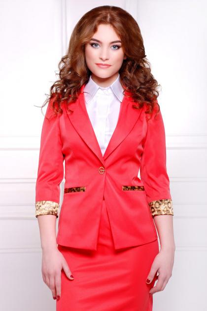 стильный пиджак красного цвета. пиджак Леонора. Цвет: красный