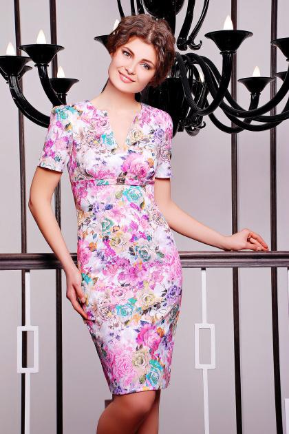 летнее платье футляр с цветами. платье Энжи к/р. Цвет: белый-розов.цветы