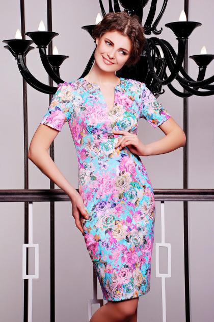 летнее платье футляр с цветами. платье Энжи к/р. Цвет: мята-цветы