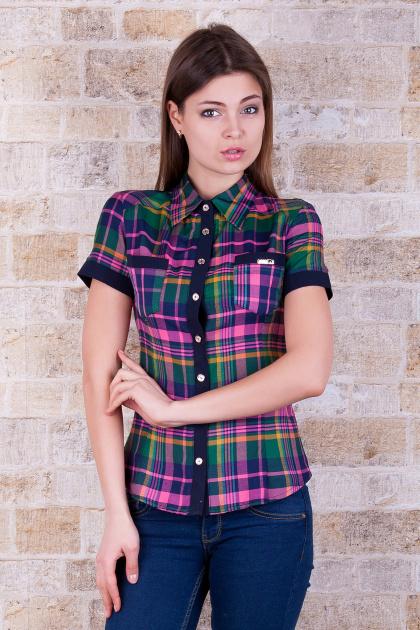 рубашка в клетку с коротким рукавом. блуза Шотландка к/р. Цвет: зеленый-т.синяя отделка