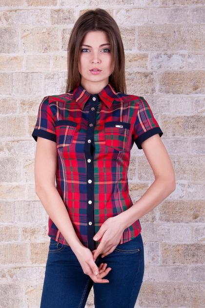 рубашка в клетку с коротким рукавом. блуза Шотландка к/р. Цвет: красный-т.синяя отделка