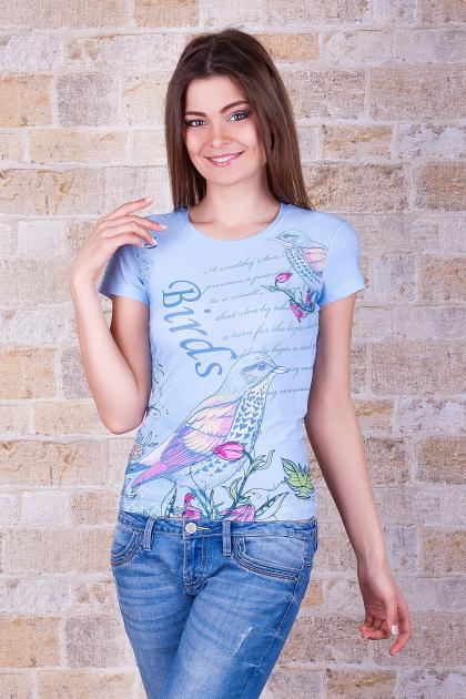 голубая футболка с птицами. Птица Футболка-1. Цвет: принт