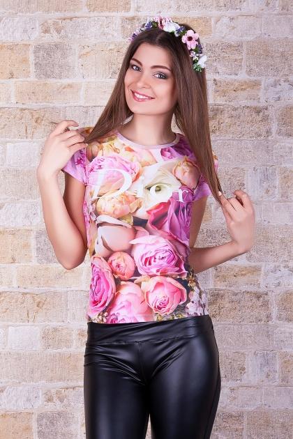 розовая футболка с пионами. Dior Футболка-1. Цвет: принт