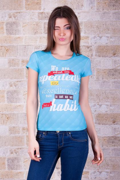 голубая футболка с надписями. Exellence Футболка-1. Цвет: принт