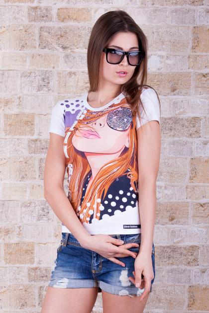 приталенная футболка с принтом. Glam girl Футболка-2. Цвет: принт