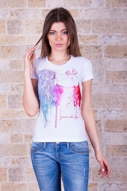футболка с рисунком для девушек. Акварель Футболка-2. Цвет: принт