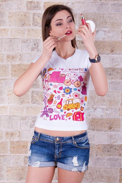 молодежная футболка с рисунком. Париж Футболка-2. Цвет: принт