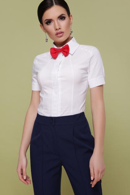 Женская белая рубашка с коротким рукавом. блуза Норма к/р. Цвет: белый