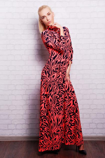 длинное платье с воротником стойка. платье Шарлота2 д/р. Цвет: ультра роз.-т.синий узор